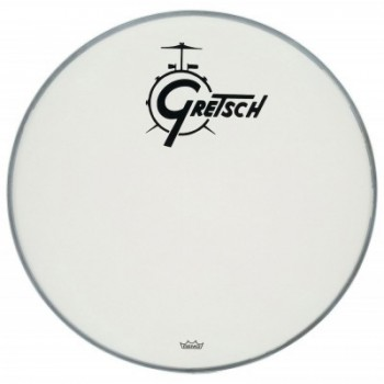 "AMBASSADOR WHITE COATED 20"" LOGO GRETSCH DRUMS RESONANCE GRETSCH"