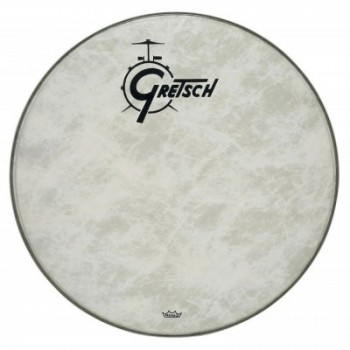 "AMBASSADOR WHITE COATED 26"" LOGO GRETSCH DRUMS RESONANCE GRETSCH"