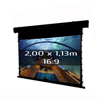 Ecran de projection électrique tensionné 2,00 x 1,13m, format 16:9, Carter noir