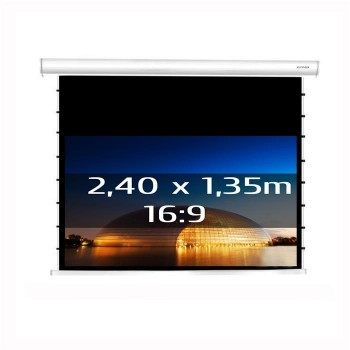 Ecran de projection électrique tensionné 2,40 x 1,35m, format 16:9, Carter blanc