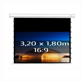 Ecran de projection électrique tensionné 3,20 x 1,80m, format 16:9, Carter blanc