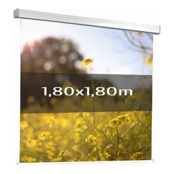 Ecran de projection électrique 1,80 x 1,80m, Multi-format, Toile blanche