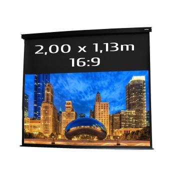 Ecran de projection électrique 2,00 x 1,13m, format 16:9, carter noir