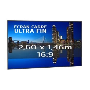 Ecran de projection sur cadre 2,60 x 1,46m, format 16:9, Série Slim