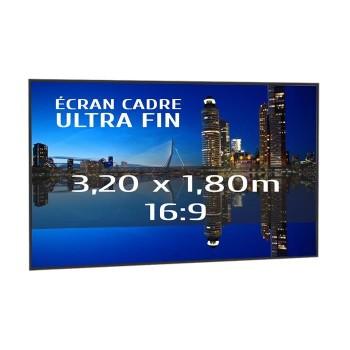 Ecran de projection sur cadre 3,20 x 1,80m, format 16:9, Série Slim