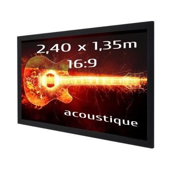Ecran de projection sur cadre 2,40 x 1,35m, format 16:9, Toile Acoustique