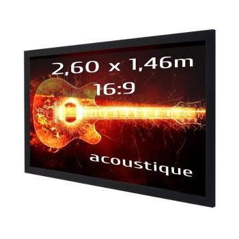 Ecran de projection sur cadre 2,60 x 1,46m, format 16:9, Toile Acoustique