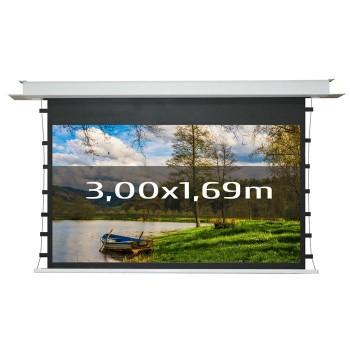 Ecran de projection électrique encastrable tensionné 3,00 x 1,69m, format 16:9