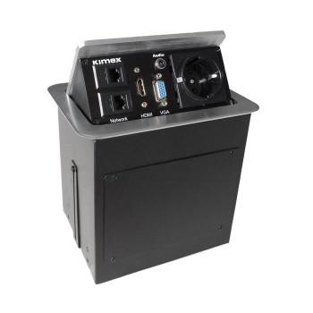 Boîtier de table encastrable 2RJ45, VGA, HDMI, AUDIO, Prise 220V, Gris