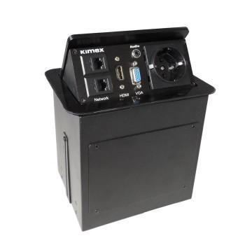 Boîtier de table encastrable 2RJ45, VGA, HDMI, AUDIO, Prise 220V, Noir