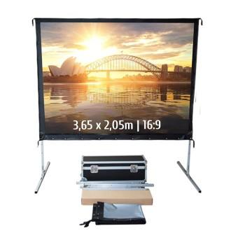 Ecran de projection valise 3,65 x 2,05m, format 16:9, Toile Arrière