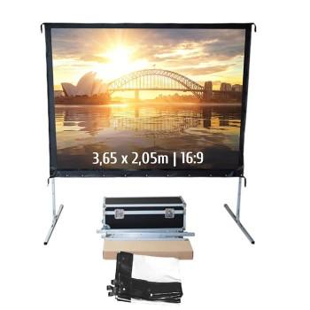 Ecran de projection valise 3,65 x 2,05m, format 16:9, Toile Avant