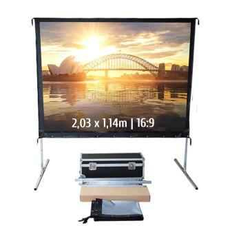 Ecran de projection valise 2,03 x 1,14m, format 16:9, Toile Arrière