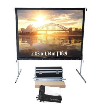 Ecran de projection valise 2,03 x 1,14m, format 16:9, Toile Avant