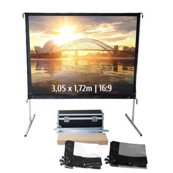 Ecran de projection valise 3,05 x 1,72m, format 16:9, Toile Avant + Toile Arrière