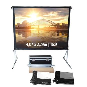 Ecran de projection valise 4,07 x 2,29m, format 16:9, Toile Avant + Toile Arrière