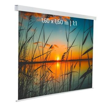 Ecran de projection électrique 1,60 x 1,60m, Multi-format, Toile blanche